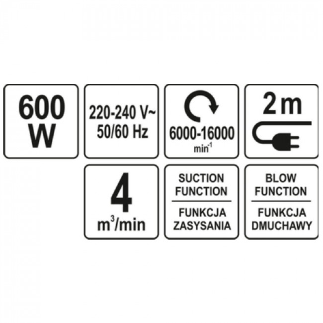YATO-85170 ΦΥΣΗΤΗΡΑΣ ΗΛΕΚΤΡΙΚΟΣ 600W ΡΥΘΜΙΖΟΜΕΝΟΣ