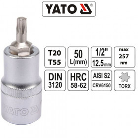 YATO ΚΑΡΥΔΑΚΙΑ TORX 1/2 CrV (T20-T55)