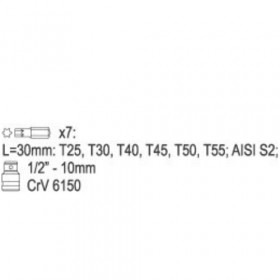 YATO YT-0410 ΣΕΤ ΚΑΡΥΔΑΚΙ 1/2 ΜΕ ΜΥΤΕΣ TORX ΣΕΤ 7 τμχ.