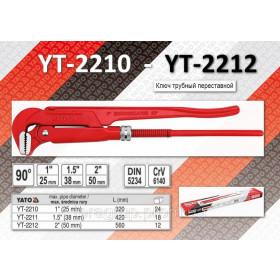 """YATO YT-2210  ΤΣΙΜΠΙΔΑ ΤΔΡΑΥΛΙΚΟΥ 1.0"""" 90° CrV6140"""