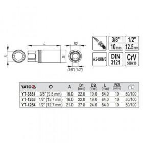 YATO YT-3851 ΚΑΡΥΔΑΚΙ ΓΙΑ ΜΠΟΥΖΙ 3/8 16mm