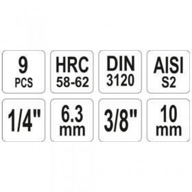 YATO YT-04401 ΚΑΡΥΔΑΚΙΑ ΑΛΛΕΝ 1/4 - 3/8  ΣΕΤ 1/2 9ΤΕΜ