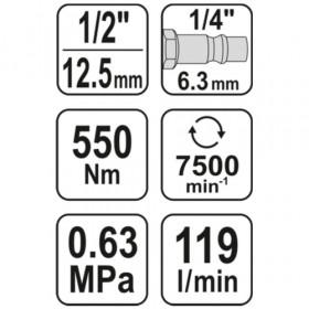 YATO YT-09511 ΑΕΡΟΚΛΕΙΔΟ 1/2`550Nm