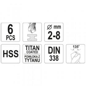 YATO YT-44673 ΤΡΥΠΑΝΙΑ ΤΙΤΑΝΙΟΥ ΣΕΤ 6τεμ HSS (2-8mm) DIN 338