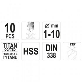 YATO YT-44674 ΤΡΥΠΑΝΙΑ ΤΙΤΑΝΙΟΥ ΣΕΤ 10ΤΕΜ HSS (1-10mm)