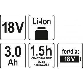 YATO YT-82843 ΜΠΑΤΑΡΙΑ Li-Ion 3Ah 18V